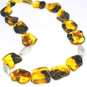 Baltic Amber Nugget and Sterling Silver Bead Necklace