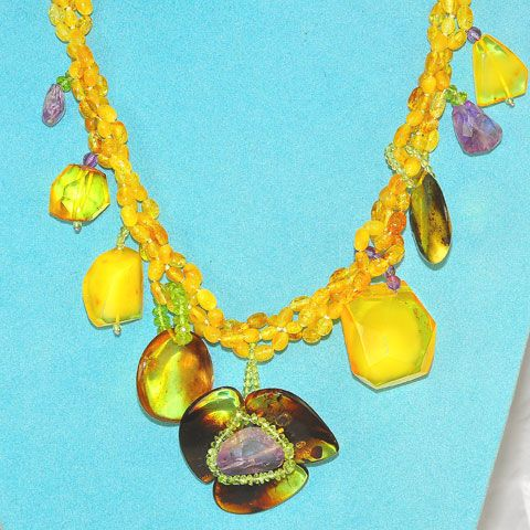 Baltic Amber, Amethyst and Peridot Necklace