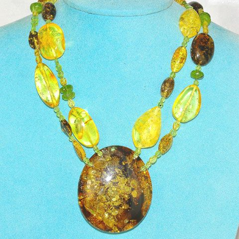 Baltic Amber and Peridot Necklace