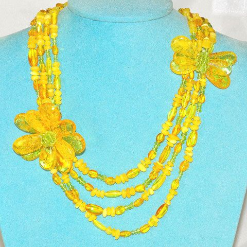 Baltic Butterscotch and Citrine Amber Flora and Butterfly Motif Necklace