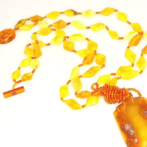 Baltic Butterscotch and Honey Amber Giant Pendant Necklace