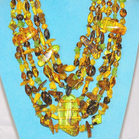 Baltic Multi Amber and Peridot Necklace