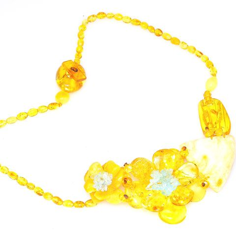 Baltic Multi Amber and Aquamarine Flower Necklace
