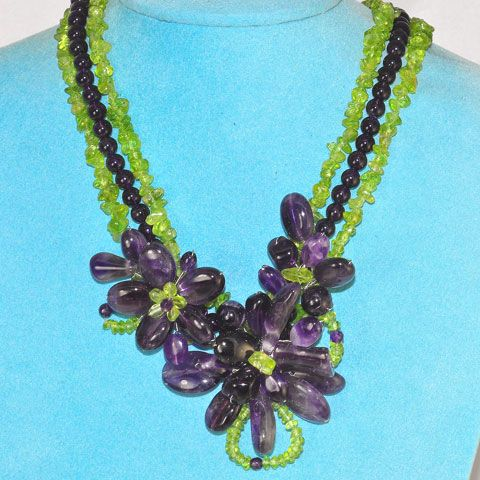 Sterling Silver Amethyst and Peridot Flora Bead Necklace