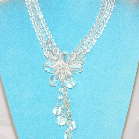 Sterling Silver Clear Quartz Flora Necklace