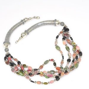 Sterling Silver 5-Strand Rainbow Tourmaline Necklace