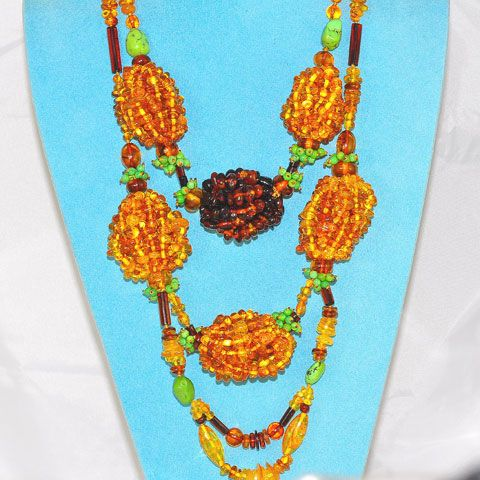 Baltic Amber and Turquoise Bead Cluster Necklace