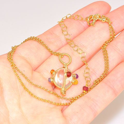 14K Gold Fill Chain with Rock Crystal and Multi-Gem Pendant Necklace