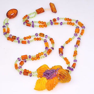 Baltic Honey Amber, Amethyst and Peridot Bead Flower Necklace