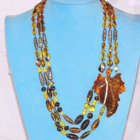 Sterling Silver, Baltic Multi Amber and Shell Bead Leaf Motif Necklace