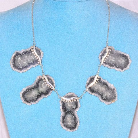 Sterling Silver Agate Druzy Crystal Cluster Slice Necklace