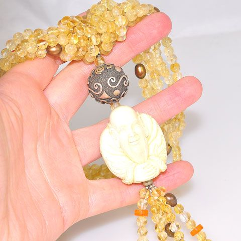 Sterling Silver Carved Mammoth Ivory Sage and Citrine Bead Necklace