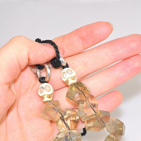 Sterling Silver Smoky Quartz and Agate Skull Bead Necklace