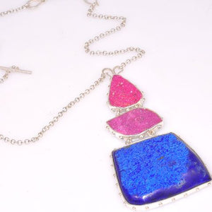 Sterling Silver Azurite and Cobalto-Calcite Druzy Necklace