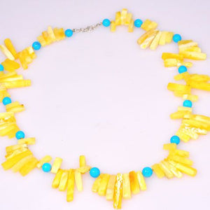 Sterling Silver Baltic Butterscotch Amber and Turquoise Bead Necklace