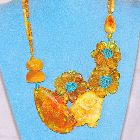 Baltic Honey and Butterscotch Amber and Turquoise Necklace