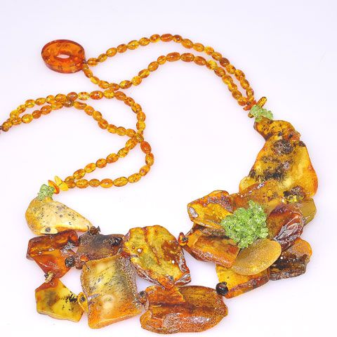 Baltic Multi Amber Slice and Peridot Flower Necklace