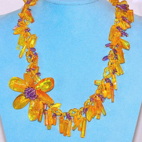 Baltic Honey Amber and Amethyst Flower Bead Necklace