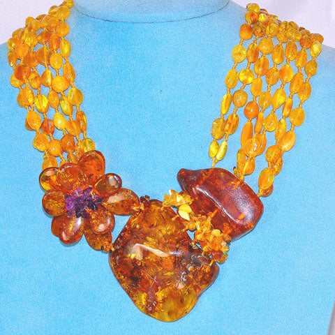 Baltic Honey Amber and Amethyst 6-Strand Bead Flower Necklace