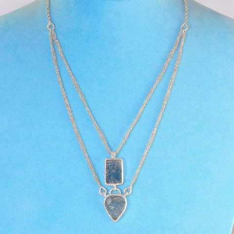 Sterling Silver Aquamarine Duo Necklace