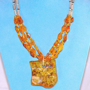 Sterling Silver Baltic Honey Amber Necklace