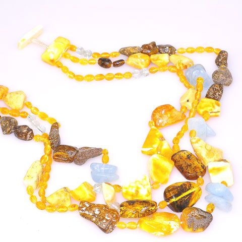 Baltic Butterscotch Amber, Baltic Honey Amber, Baltic Raw Amber and Aquamarine Toggle Necklace