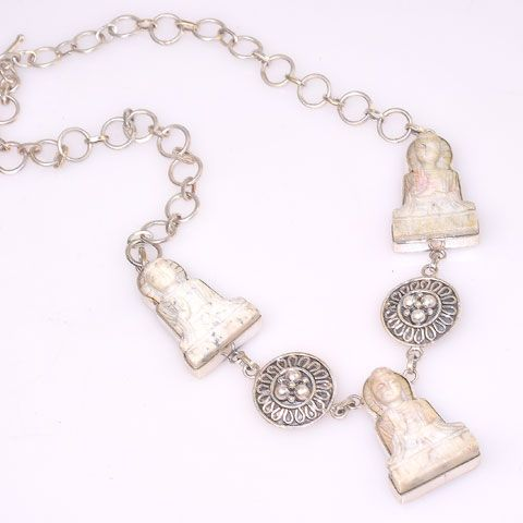 Sterling Silver India Stone Carved Buddha Necklace