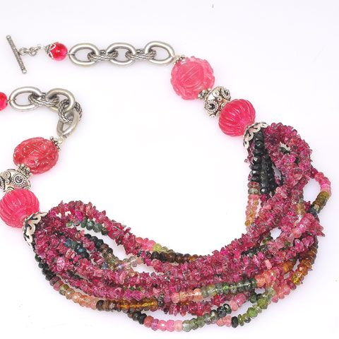 Sterling Silver Carved Pink Tourmaline, Multicolor Tourmaline Bead Strand and Pink Tourmaline Chip Stranded Necklace
