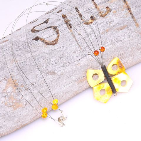 Sterling Silver Baltic Butterscotch Amber, Baltic Honey Amber Beads and Ebony Wood Butterfly Necklace