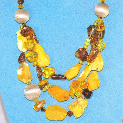 Baltic Honey Amber, Baltic Raw Amber, Baltic Butterscotch Amber and Sterling Silver Ball 3-Stranded Necklace
