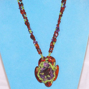 Baltic Honey Amber, Peridot Chip and Amethyst Chip Flower Necklace