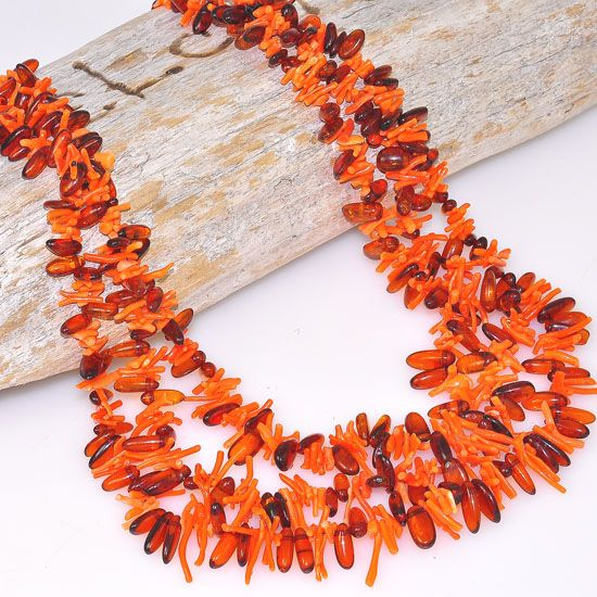 Genuine Baltic Honey Amber and Coral 3-Strand Necklace