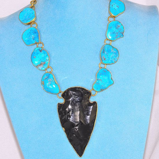 Charles Albert Alchemia Sleeping Beauty Turquoise and Obsidian Arrowhead Necklace