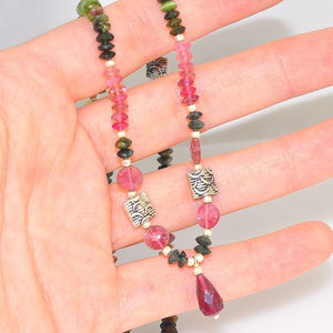 Sterling Silver Multicolored Tourmaline Beaded Necklace