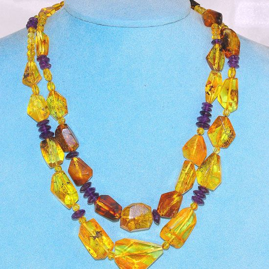 Baltic Honey Amber Nugget and Amethyst Bead 2-Strand Necklace