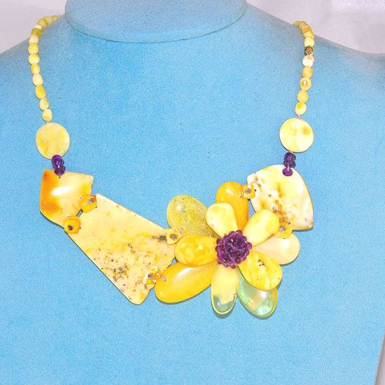 Baltic Butterscotch Amber and Amethyst Bead Oversized Flower Necklace