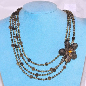 Sterling Silver Beautifully Antiqued Smokey Quartz Beaded 4 Strand Flower Necklace