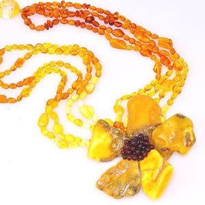 Baltic Butterscotch, Honey and Cherry Amber Large Lotus Flower 4 Strand Necklace