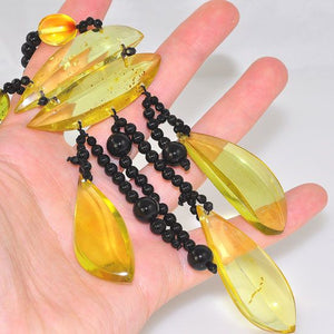 Genuine Onyx Beads and Baltic Citrine Amber Tribal Dangle Necklace