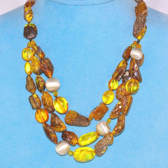 Sterling Silver and Ebony Wood Baltic Honey Amber and Raw Amber Nugget Necklace