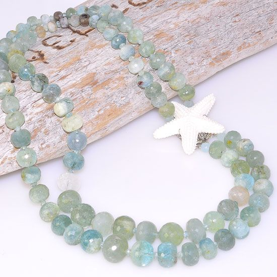 Sterling Silver Faceted Prehnite Bead and Carved Bone Starfish Clasp Double Strand Necklace