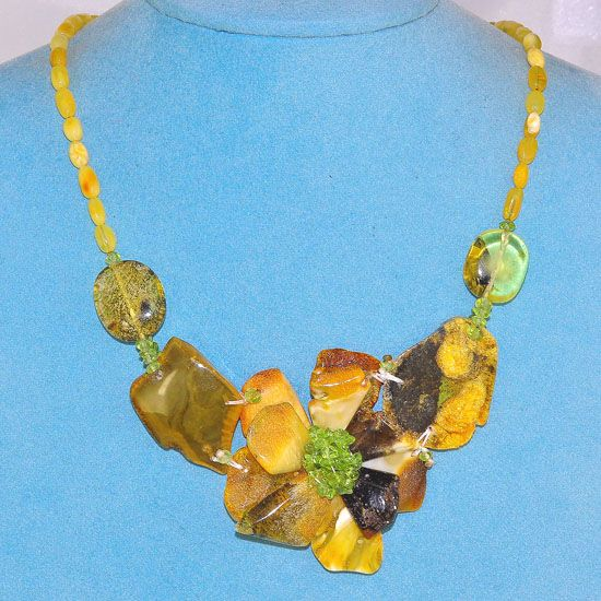 Ebony Wood Clasp, Baltic Butterscotch Amber and Peridot Flower Necklace
