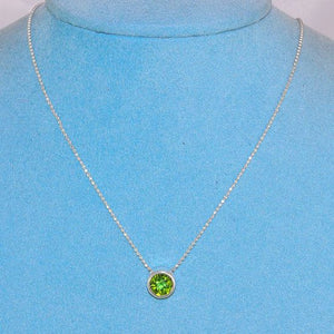 Sterling Silver Hammered Casing Beautiful Delicate Peridot Gemstone Necklace