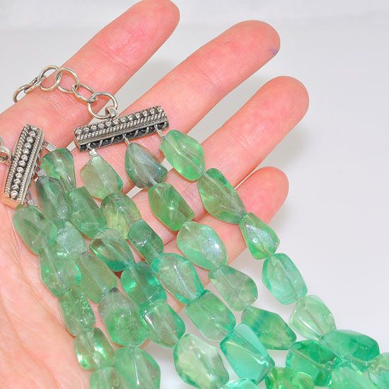 Sterling Silver Mermaid Green Fluorite Nugget Beaded 3 Strand Necklace