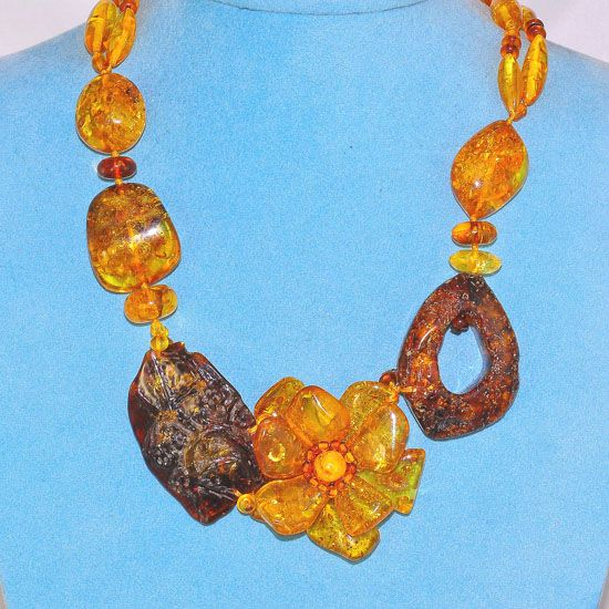 Genuine Baltic Honey Amber Flower Carved Flintstone Necklace