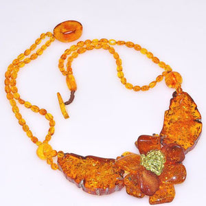 Genuine Baltic Honey Amber and Peridot Bead Flower Necklace