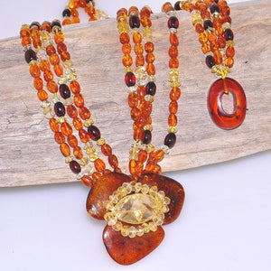 Genuine Baltic Honey Amber, Cherry Amber and Citrine Amber Beaded 4-Strand Necklace