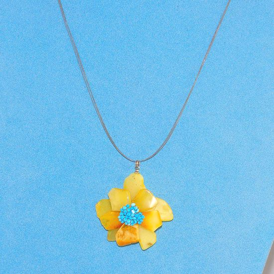 Sterling Silver Baltic Butterscotch Amber and Turquoise Bead Flower Wire Necklace