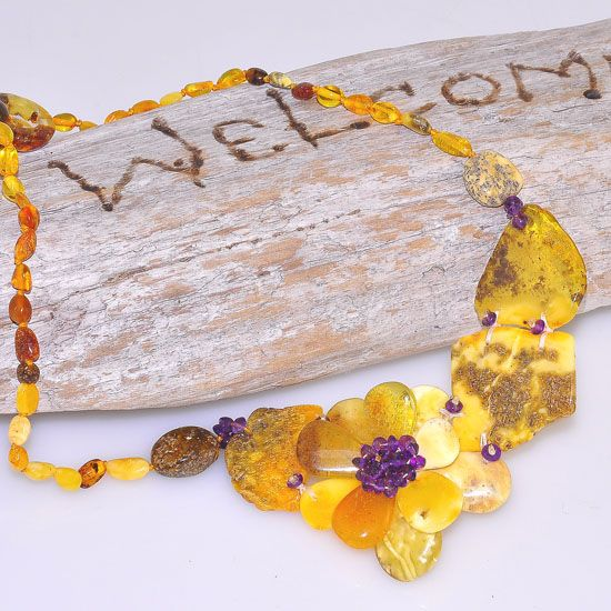 Baltic Butterscotch Amber, Baltic Honey Amber and Amethyst Flower Necklace