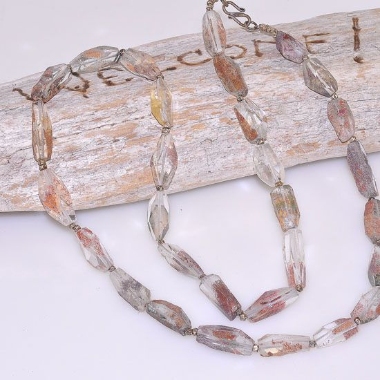Sterling Silver Earthy Moss Quartz Beaded Long Necklace
